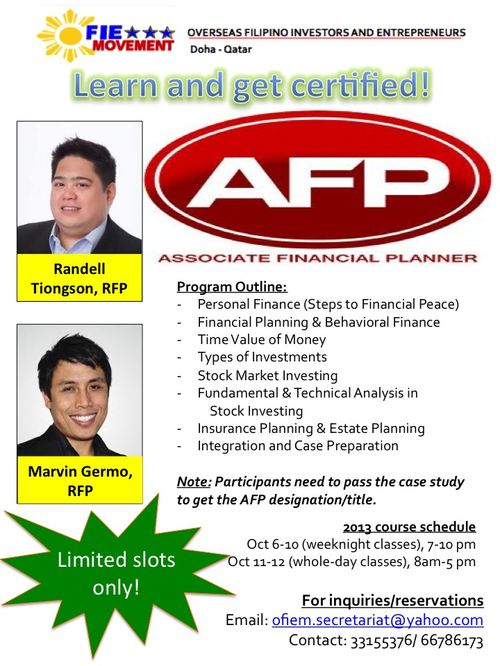 Financial planning certification program - Qatar | Randell Tiongson